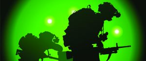 Soldiers in night vision goggles