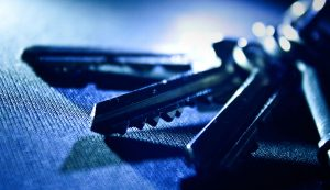 upclose image with keys on key ring displayed on a cloth
